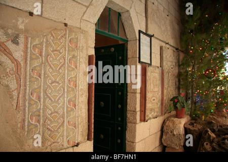 Israel, Shephelah, Byzantine mosaics at St. Stephen Church of the Salesian Monastery in Beit Gemal - Stock Photo