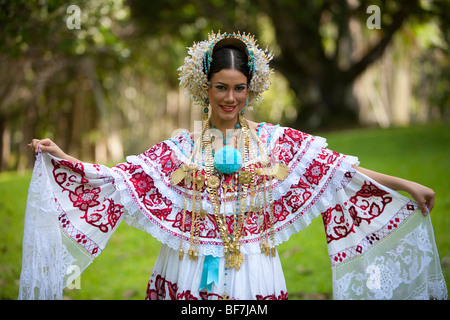 The Pollera, Panama typical dress. Pollera, traje tipico de Panama. - Stock Photo