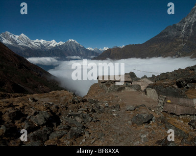 Mera National park. Small sherpa huts or mountain refuges on the paths along the mountain valleys. Nepal. - Stock Photo