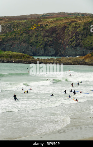 People surfing in Whitesands bay, pembrokeshire coast national park, october afternoon, west wales UK - Stock Photo