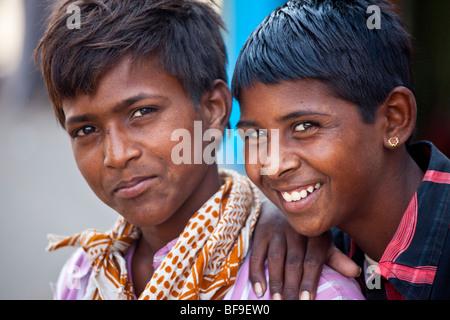 India boys at the Pushkar Mela in Pushkar in Rajasthan India - Stock Photo