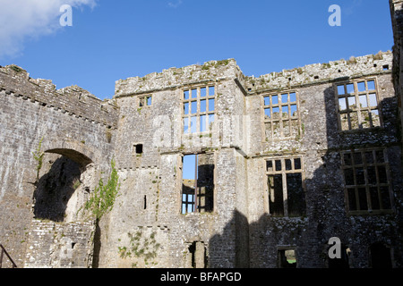 Carew castle and Tide mill. Pembrokeshire, Wales built in 1270 - Stock Photo