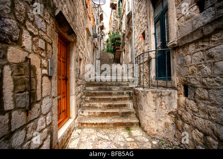 Back streets of old town Dubrovnik, Croatia - Stock Photo