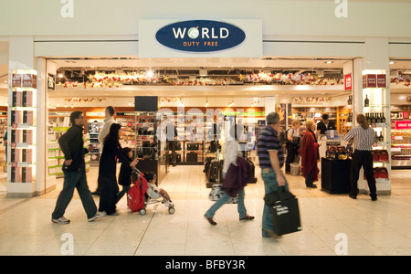 The World Duty Free shop, Terminal One, Heathrow Airport London UK - Stock Photo