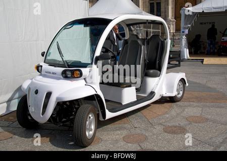 Electric concept car public exhibition in front of the Hotel de Ville in Paris, France. - Stock Photo