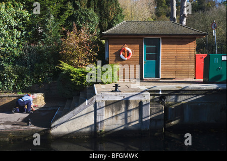 A wooden hut at Boulters Lock on the River Thames near Maidenhead Berkshire UK - Stock Photo