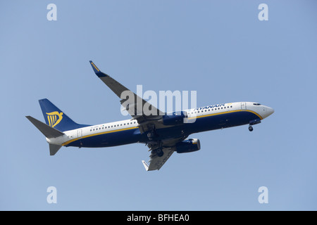 Ryanair Boeing 737-8AS on final approach at Stansted Airport, Essex, England - Stock Photo