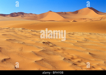 Sand dunes in Namib-Naukluft National Park, Namib Desert, Sossusvlei, Namibia, Africa - Stock Photo