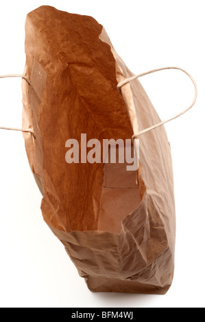 Looking down inside a brown paper carrier bag - Stock Photo