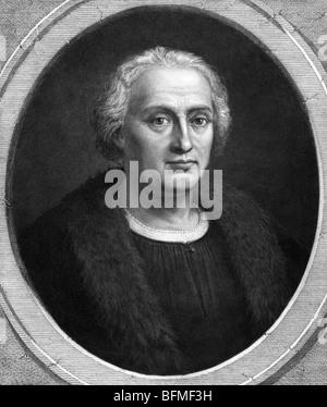 Portrait print c1892 of explorer Christopher Columbus (c1451 - 1506) - the 'discoverer' of America in 1492. - Stock Photo
