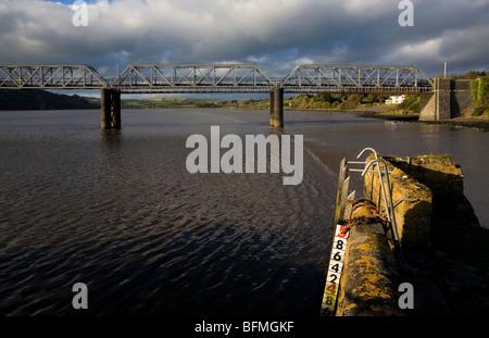 Steel Railway Bridge (Longest in Southern Ireland), Over River Barrow to Great Island, County Wexford, Ireland - Stock Photo