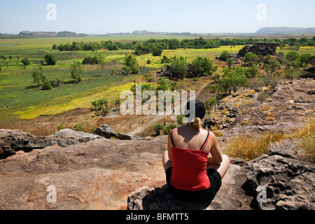 Australia, Northern Territory, Kakadu National Park. Looking out over the Nadab floodplain at Ubirr (PR) (MR) - Stock Photo