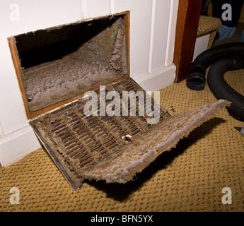 ARLINGTON, VIRGINIA, USA - Dust build up in house duct. - Stock Photo