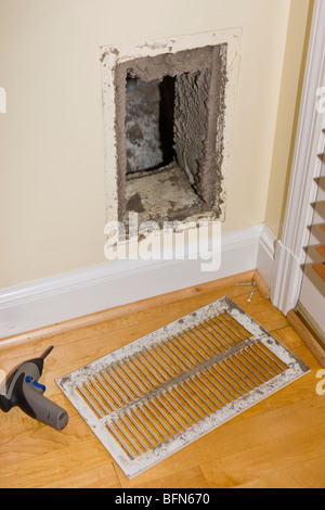 ARLINGTON, VIRGINIA, USA - Dirty return duct, during duct cleaning in home. - Stock Photo