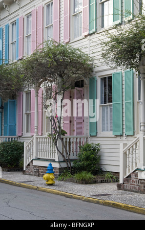 Row houses with colorful shutters in Savannah, Georgia, USA - Stock Photo