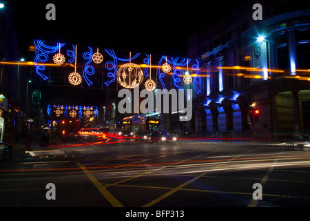 Aberdeen city centre Christmas Lights and traffic _ Winter festival decorations  Aberdeenshire, Scotland uk - Stock Photo