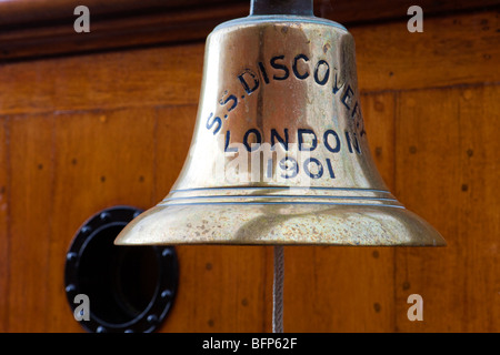 The ship's bell of the RRS Discovery now docked at Dundee, Angus, Scotland - Stock Photo