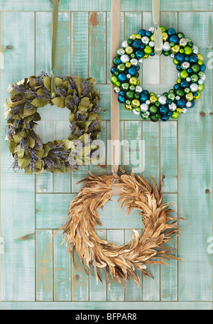 holiday wreaths for home decoration - Stock Photo