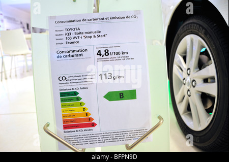 Paris, France, Shopping in New Car Showroom, Toyota Car, IQ, gas-electric  Hybrid, Detail, Energy Efficient Rating - Stock Photo