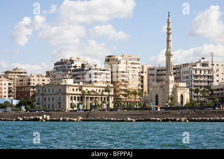 View of the corniche taken from a boat in the Eastern Harbour of the city of Alexandria, Egypt - Stock Photo