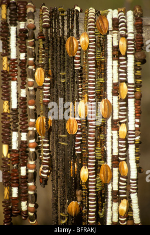 San beadwork made mostly from natural materials such as ostrich shell seeds and bone. - Stock Photo