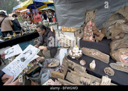 Japan, Kyoto, monthly Flea Market at Toji Temple, - Stock Photo