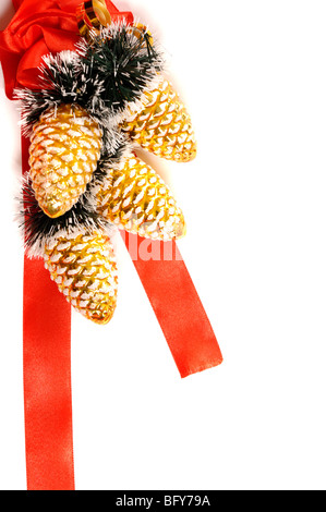 Red decorative christmas decoration on white background - Stock Photo