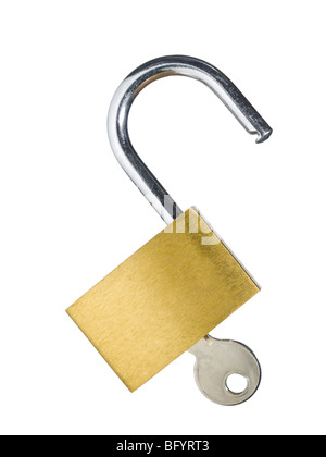 An open lock with a key isolated on white background. - Stock Photo