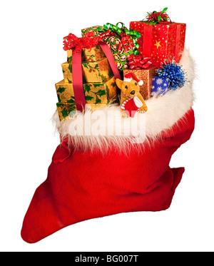 A Christmas sack of toys stripped on white, Santa sack. Santa sack of toys - Stock Photo