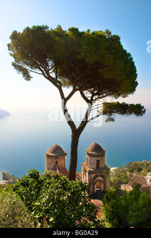 The Bell towers of Our Lady of The Anunciation church viewed from Villa Ravello, Amalfi Coast, Italy - Stock Photo