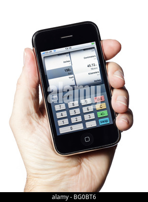 iPhone smartphone smart phone mobile phone with a unit conversion app - Stock Photo