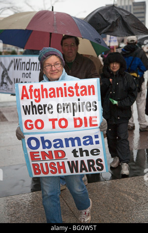 Protest Against President Obama's Escalation of Afghanistan War - Stock Photo