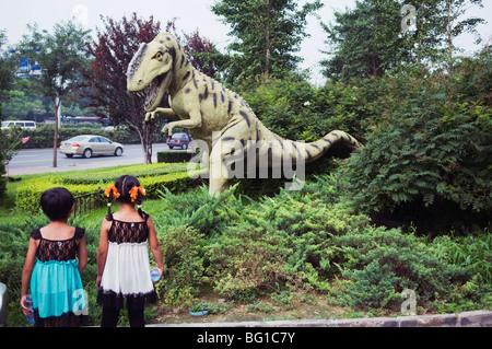 Dinosaur outside the Paleozoological Museum of China, Beijing, China, Asia - Stock Photo