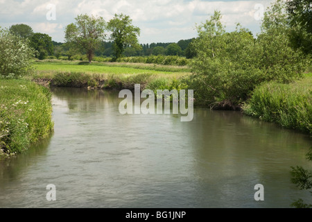 The River Kennet from Padworth road bridge near Reading, Berkshire, Uk - Stock Photo