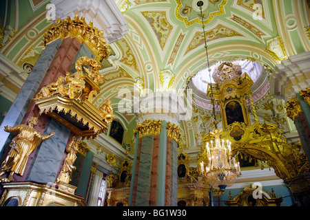 The interior of Cathedral of SS Peter and Paul in the Peter and Paul Fortress. St. Petersburg, Russia, Europe - Stock Photo