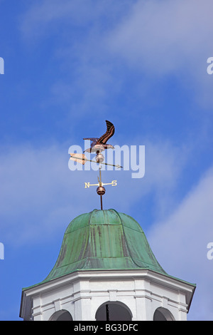 Copper weather vane on top of building, Kings Park, Long Island, NY - Stock Photo