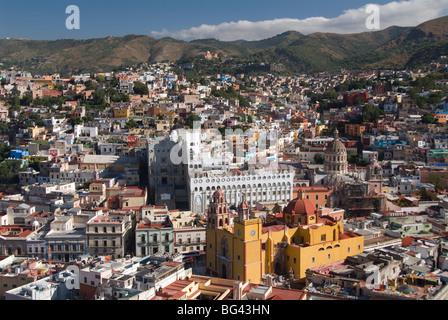 Overview of city from the monument of El Pipila, Guanajuato city, UNESCO World Heritage Site, Guanajuato, Mexico, - Stock Photo