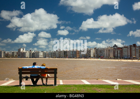 Uruguay, Montevideo, Pocitos, Playa de los Pocitos beach - Stock Photo