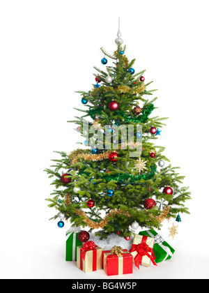Decorated real Christmas tree isolated on white background - Stock Photo