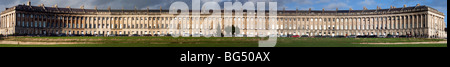 Panoramic view of entire Royal Crescent Bath Grade 1 listed Georgian Architecture designed by John Wood the Younger - Stock Photo