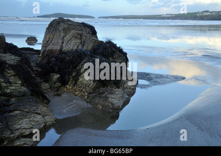 Rock pool, Cardigan Island, Poppit Sands Beach, St Dogmaels, Pembrokeshire, Wales, United Kingdom - Stock Photo
