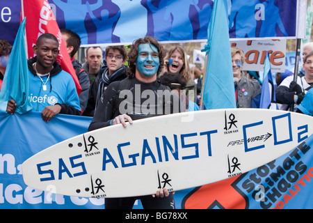 Protesters at The Wave, the biggest climate change demonstration ever to take place in the UK - Stock Photo