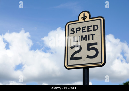 Road Sign Speed Limit 25 Miles - Stock Photo
