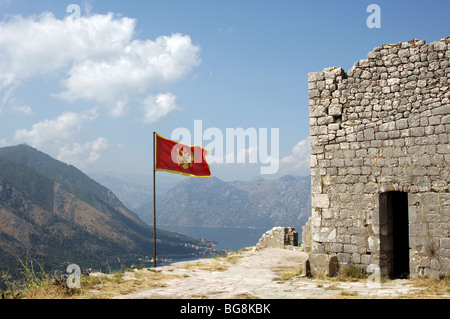 Flag of the Republic of Montenegro. Kotor - Stock Photo