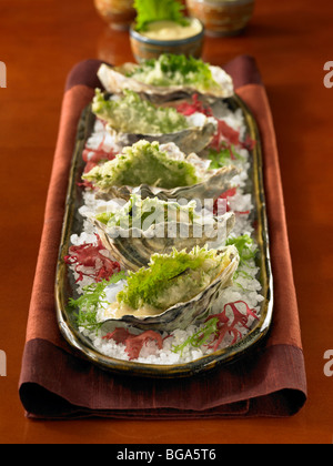 Deep fried oysters in half shell in course salt on plate - Stock Photo