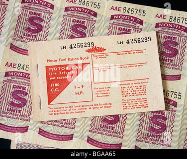 Petrol coupons and Motor Fuel Ration Book issued to key workers in 1973 during the fuel crisis when petrol was in - Stock Photo