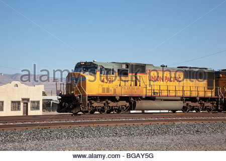 Union Pacific UP locomotives in southwestern 'New Mexico' - Stock Photo