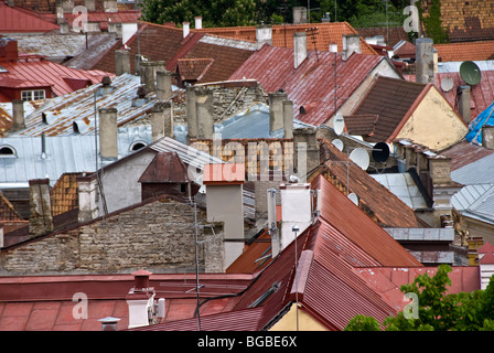 A view over the Old Town of Tallinn Estonia - Stock Photo