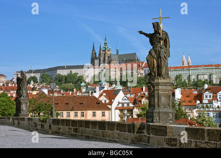 View on Lesser Town (Mala Strana) and Castle from Charles Bridge, Prague, Czechia, Europe - Stock Photo
