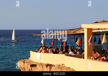 Ashram Sunset Restaurant, Cala Conta, Ibiza, Pine Islands, Balearic Islands, Spain, Europe - Stock Photo